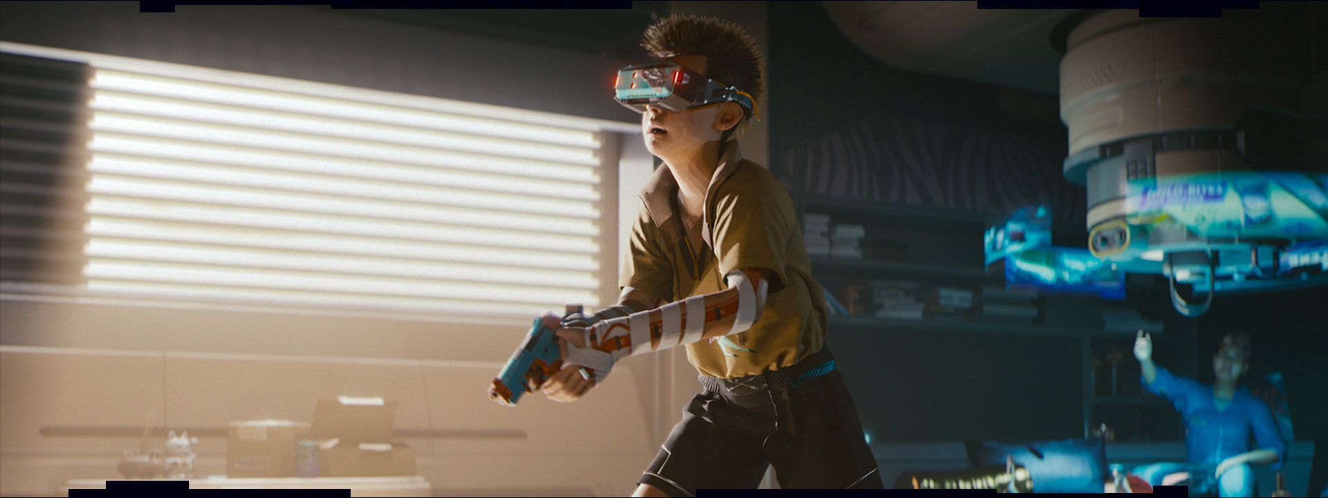 A young boy wearing VR glasses plays a shooter game