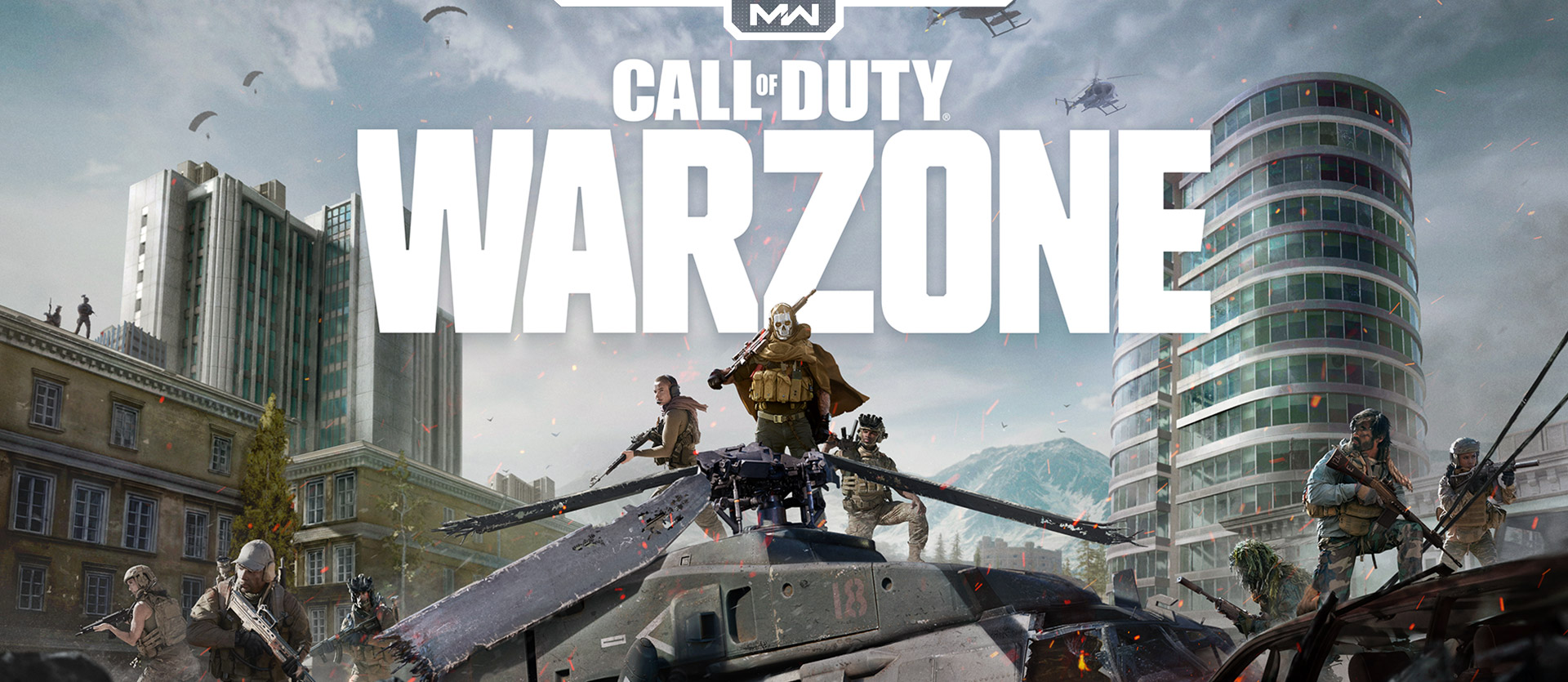 Call of Duty: Warfare and Modern Warfare logo with ghost character on top of a helicopter with other soldiers in a city
