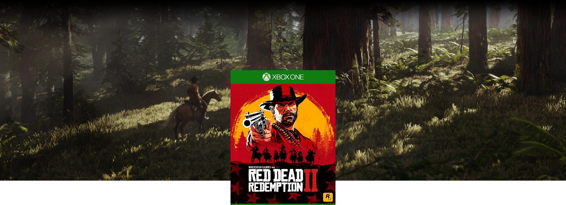 Red Dead Redemption 2 박스 샷으로 문자 백그라운드에서 숲을 통해 말을 타고