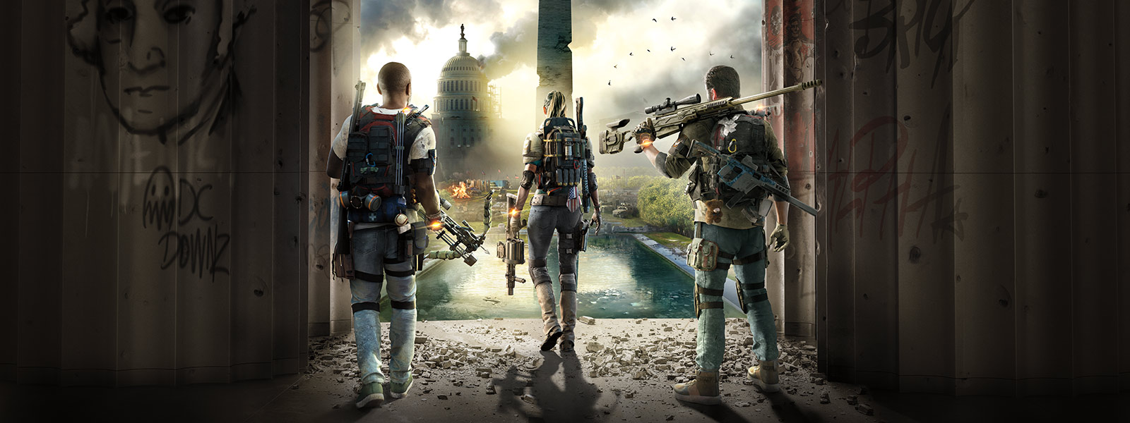 Tom Clancy's The Division 2, Three heavily geared people look over a ravaged Washington D.C.