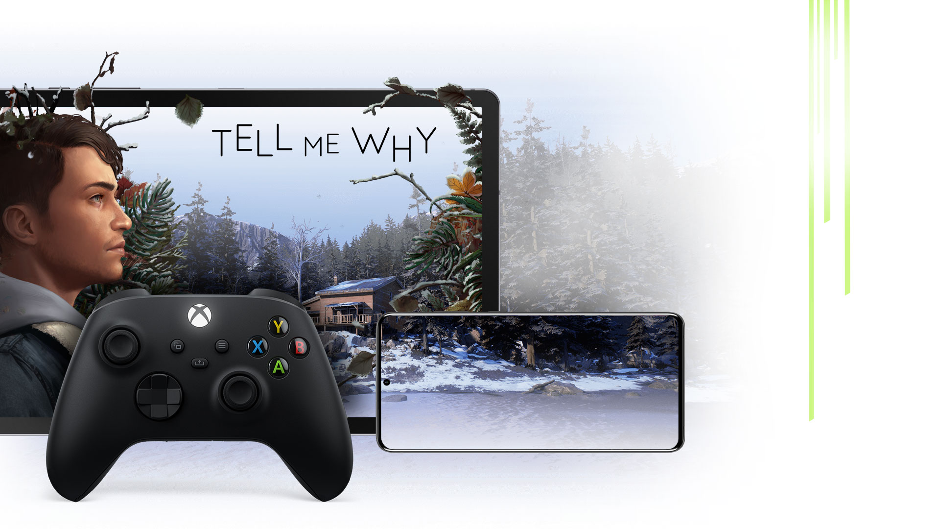 An Xbox Wireless Controller with a mobile phone and tablet showing Tell Me Why