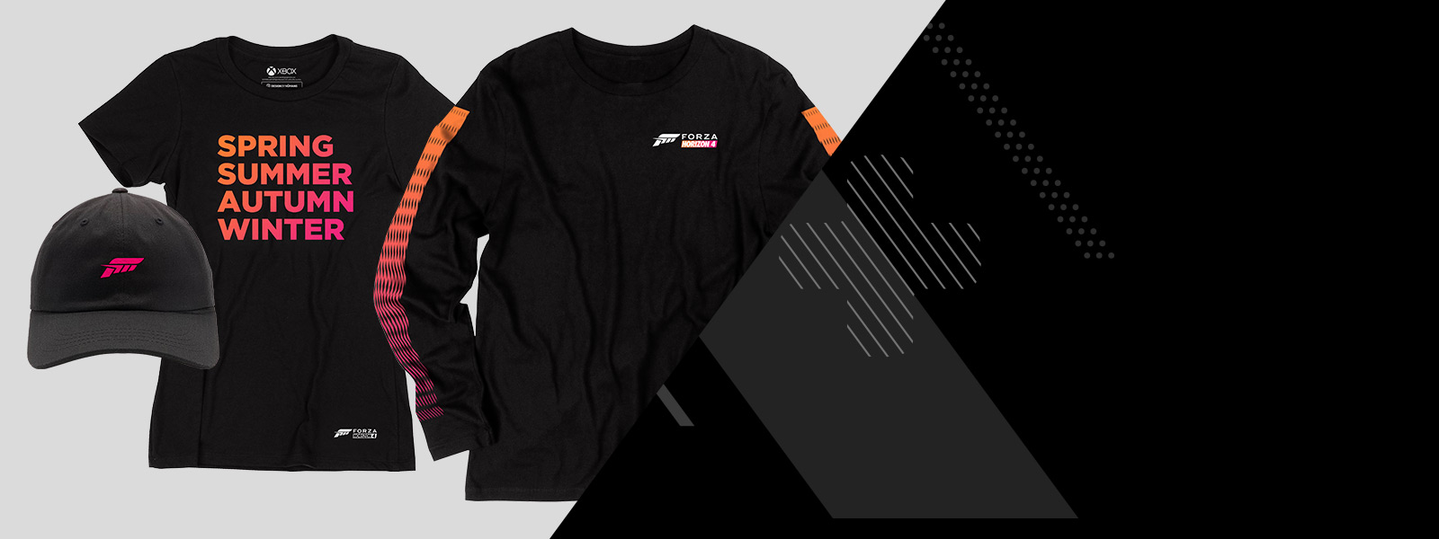 Black Forza Horizon 4 Long sleeve and short sleeve t-shirts, and a black hat with the Forza logo, beside a stylized xbox controller background