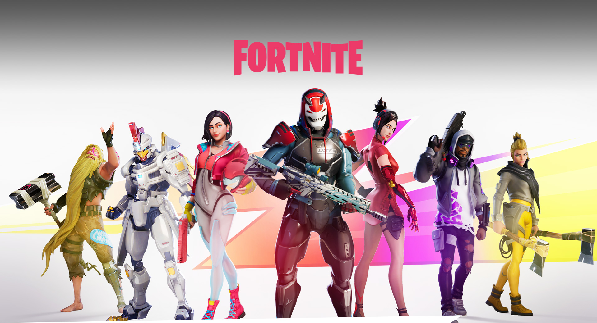 xbox Fortnte guide: 5 Fortnite characters standing in front of the Fortnite logo