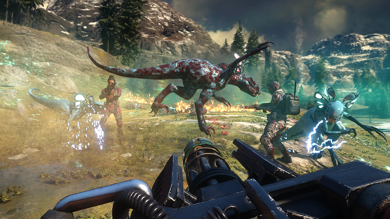 Characters point their guns at a group of mutant dinosaurs.