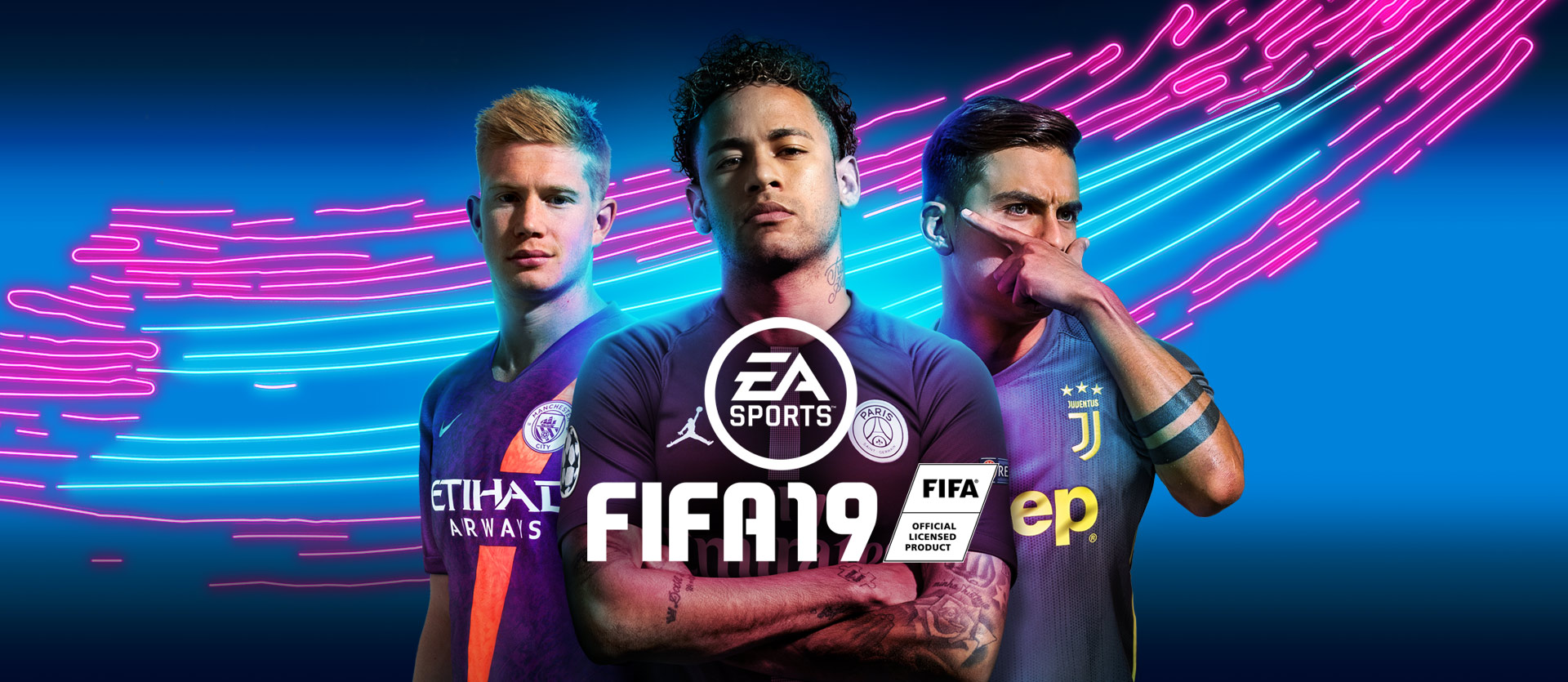 FIFA19 Ultimate Team Kevin De Bruyne, Neymar, and Paulo Dybala posing with ultimate team jerseys