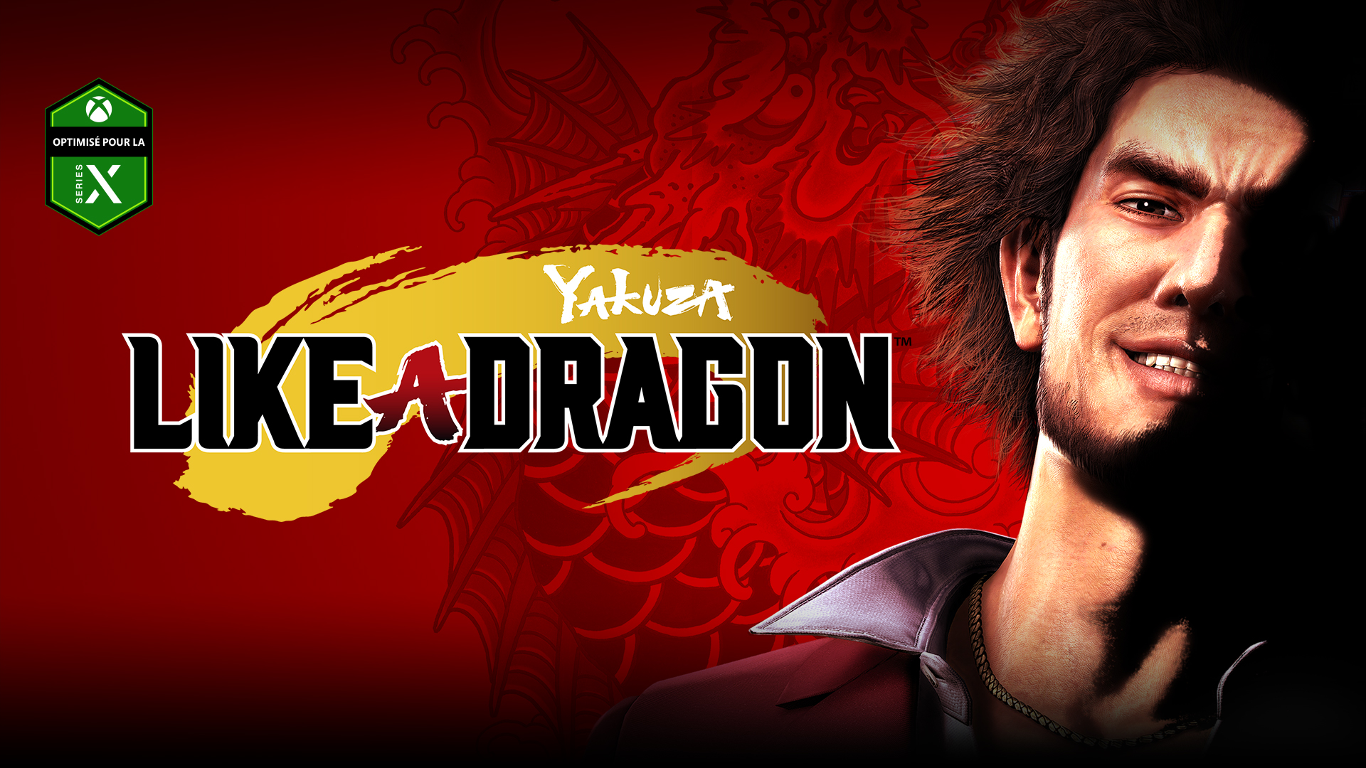 Yakuza Like a Dragon, Ichiban sourit avec un dragon rouge en arrière-plan.