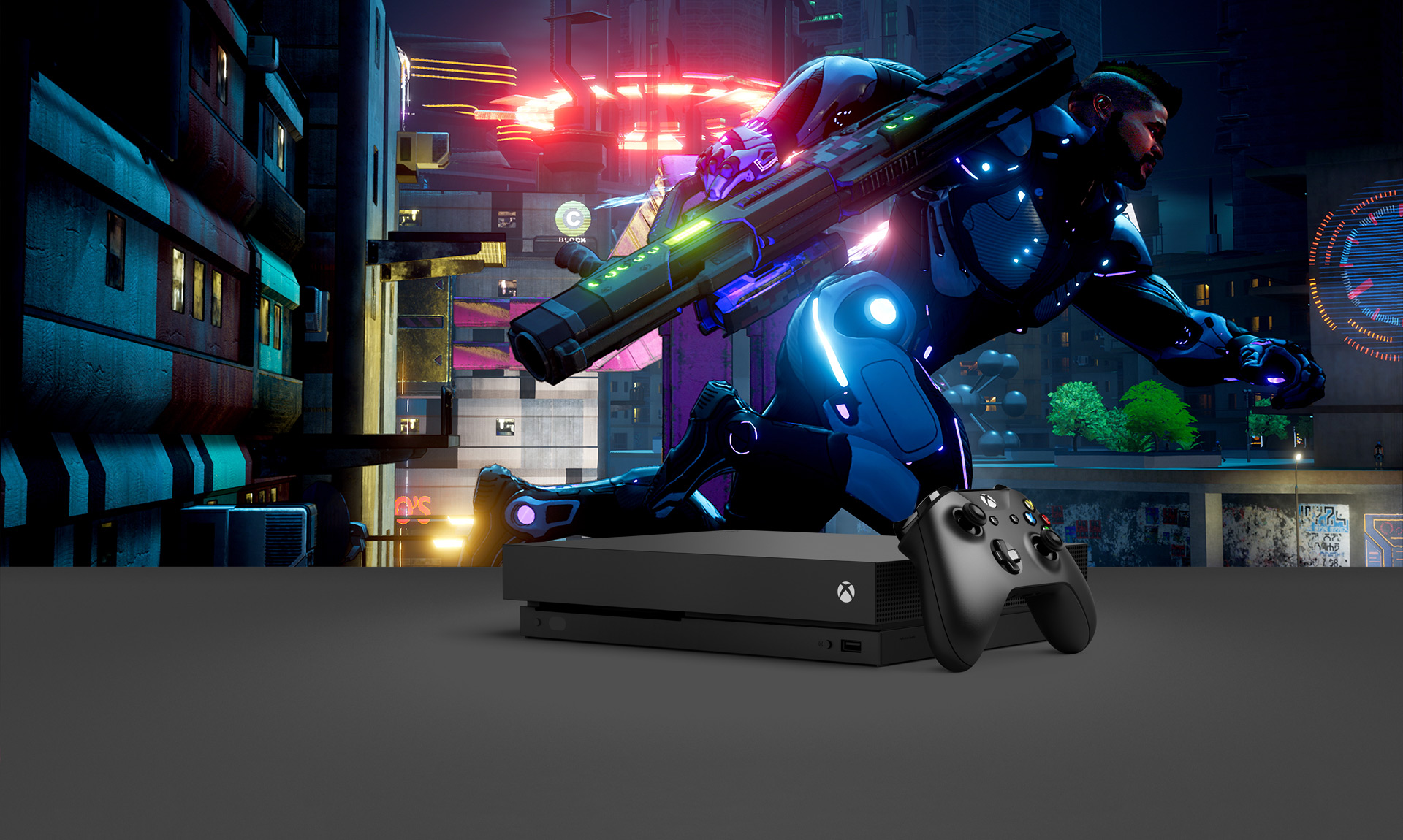City scene with side view of and Agent running with weapon, with overlay of Xbox One X console