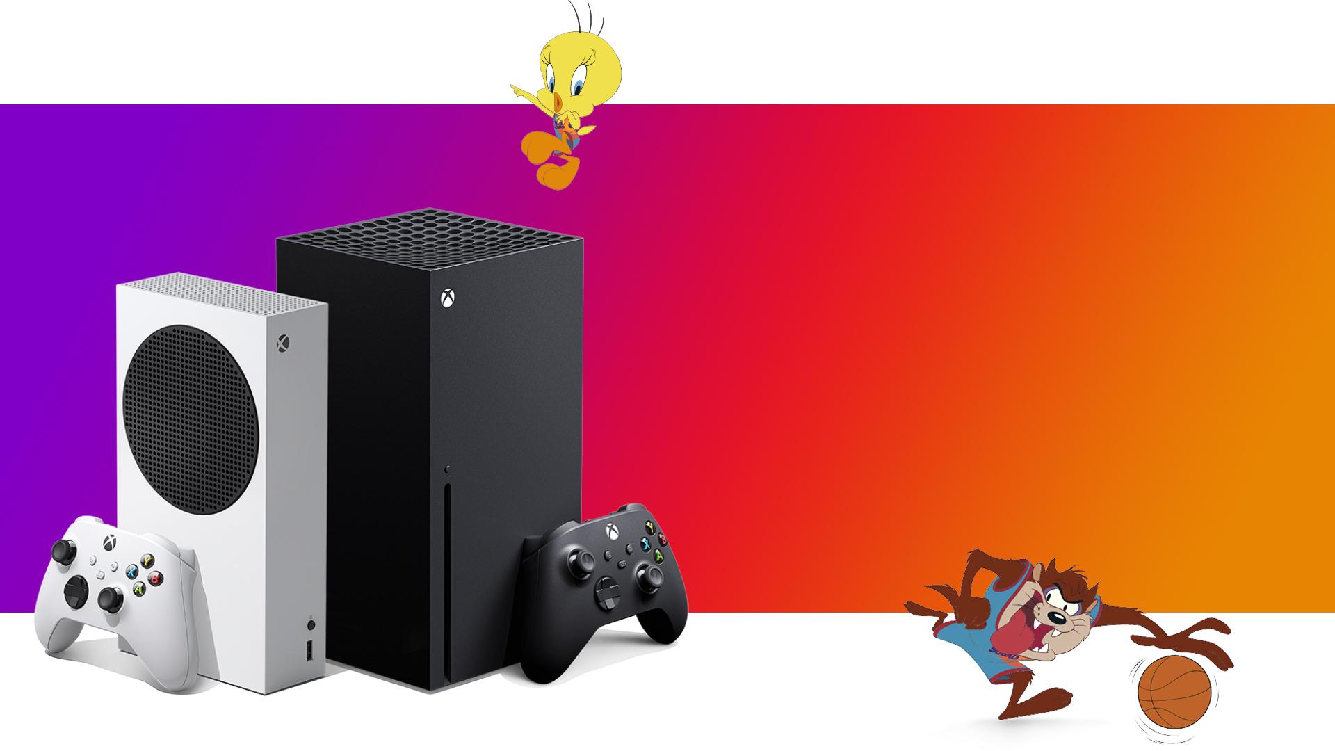 Xbox SeriesS- und Xbox SeriesX-Konsolen mit Tweety und Tasmanischem Teufel