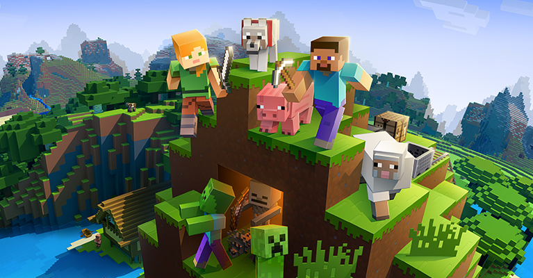 Minecraft characters and animals on a mountain