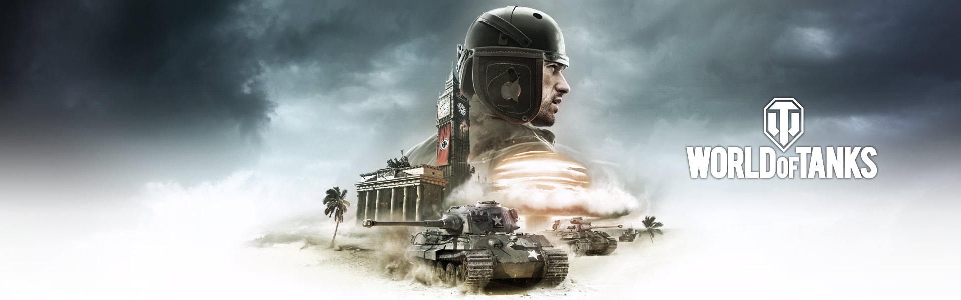 World of Tanks: multiple tanks move in front of a building on a beach with a large image of a man in the background