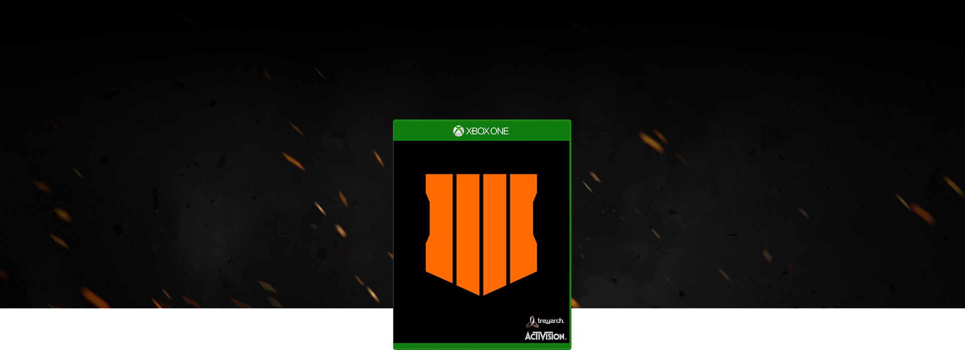 Call of Duty: Black Ops 4 boxshot, background of smoke and embers