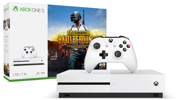 box and console shot of Xbox One S PLAYERUNKNOWN'S BATTLEGROUNDS Bundle (1TB)