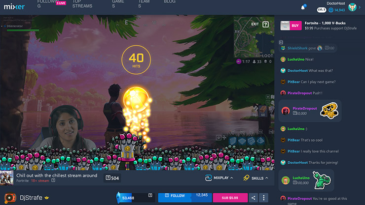 Jugador que hace streaming de Fortnite con decoraciones de Mixer