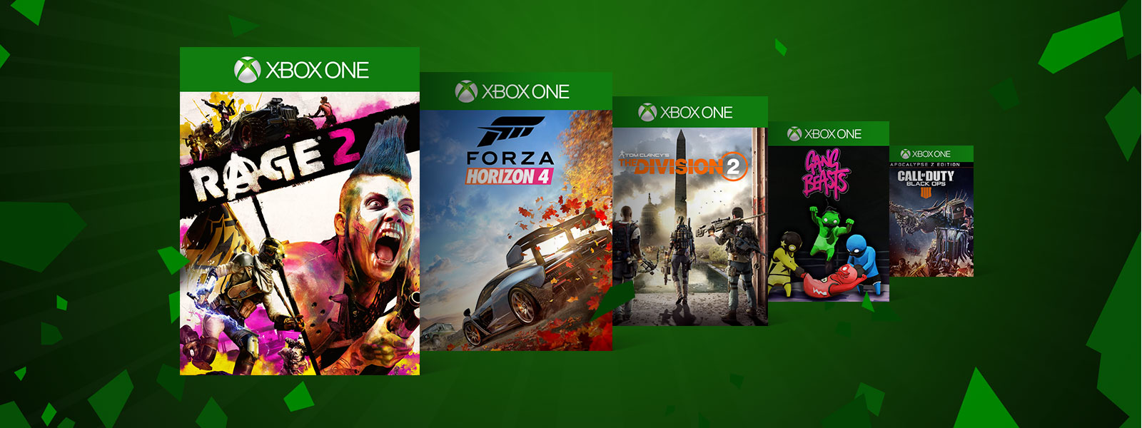 A collage of box art for Xbox One games on sale. Rage 2, Forza Horizon 4, Tom Clancy's The Division 2, Gang Beasts, and Call of Duty Black Ops 4
