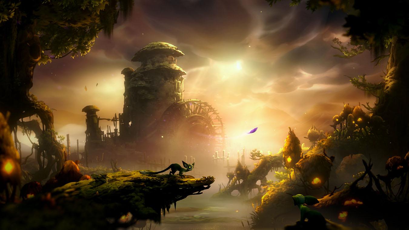 Маленькое существо из игры Ori and the Will of the Wisps следует за фиолетовым пером, которое парит на ветру