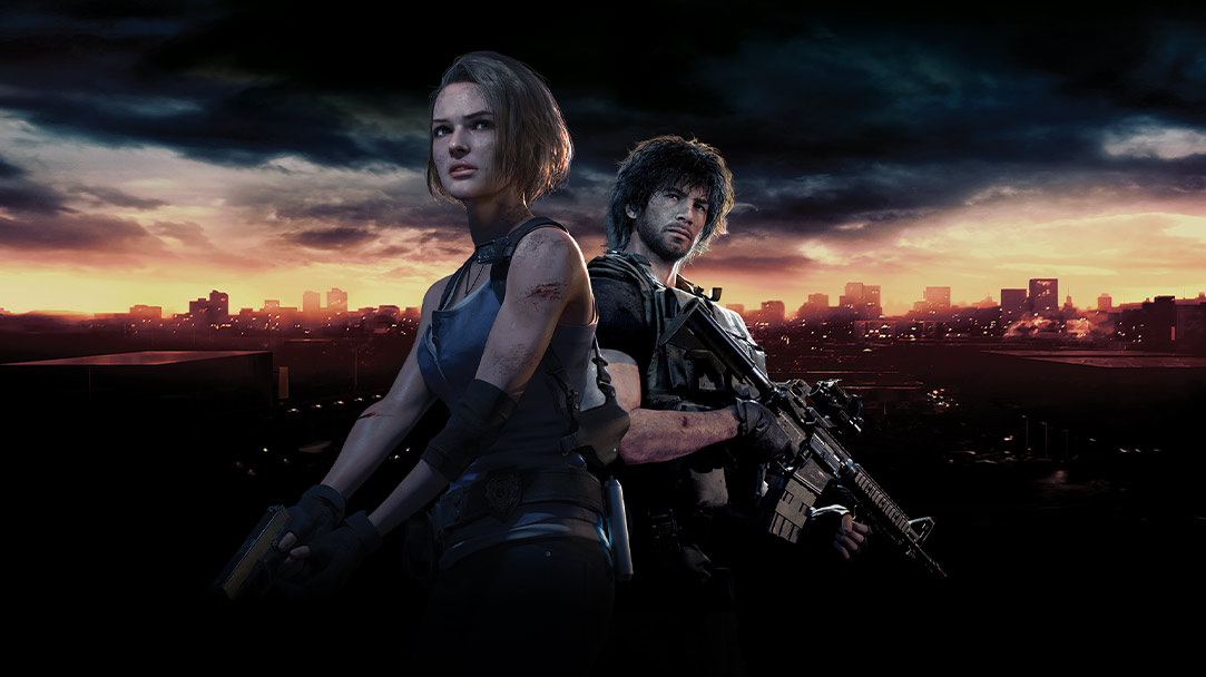 Jill Valentine and Carlos Oliveira stand with the skyline of Raccoon City behind them