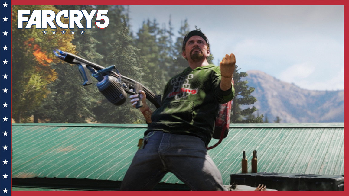 Far Cry 5, Man stands on roof holding a flamethrower