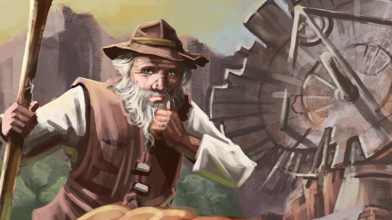 Captura de pantalla de un personaje con barba que sostiene un bastón junto a una antena parabólica