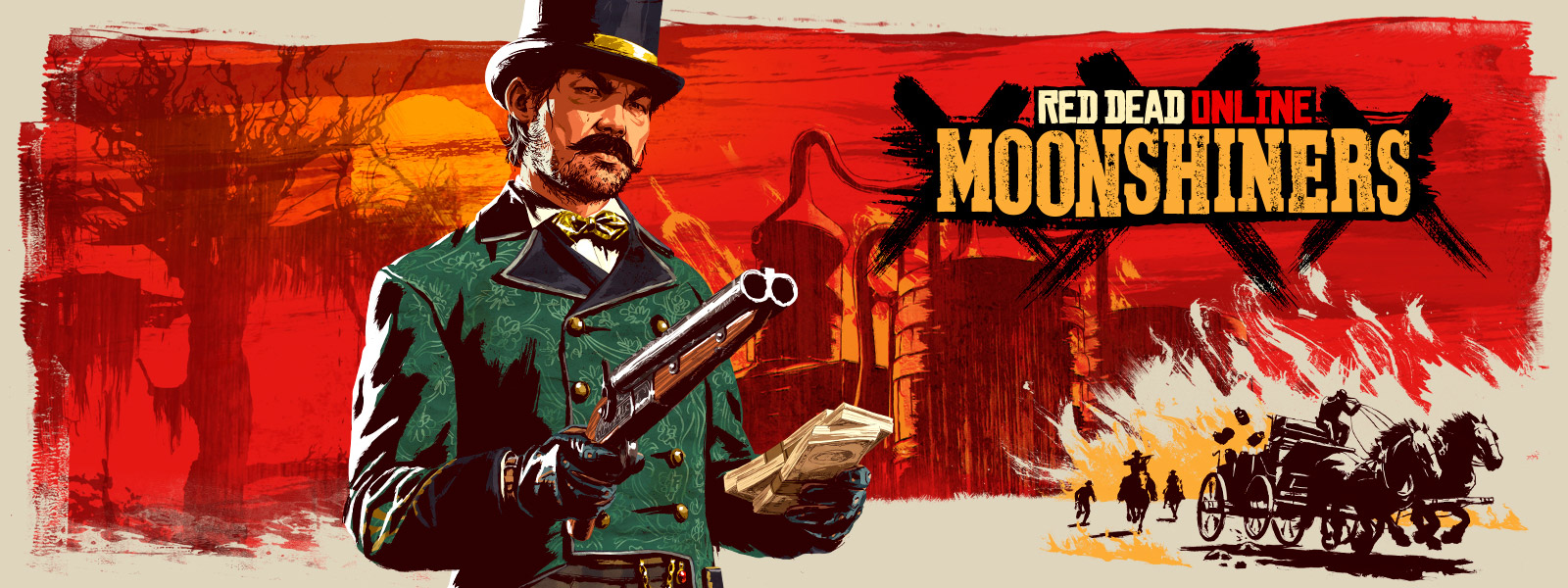 Red Dead Online, Moonshiners, A sinister looking man holds a gun and a stack of cash, stylistic background of a moonshiner set-up and a wagon chase.