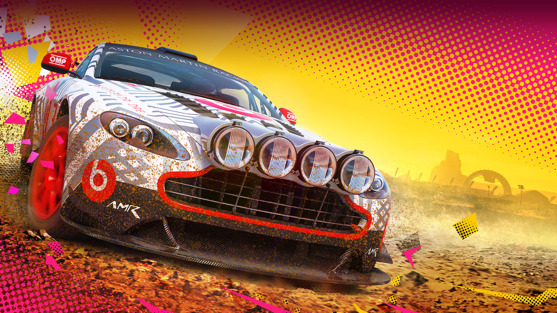 Car in mud with yellow and pink background