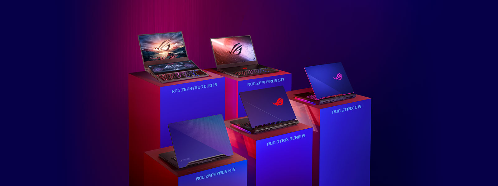 Collection of ASUS Republic of Gamers laptops.