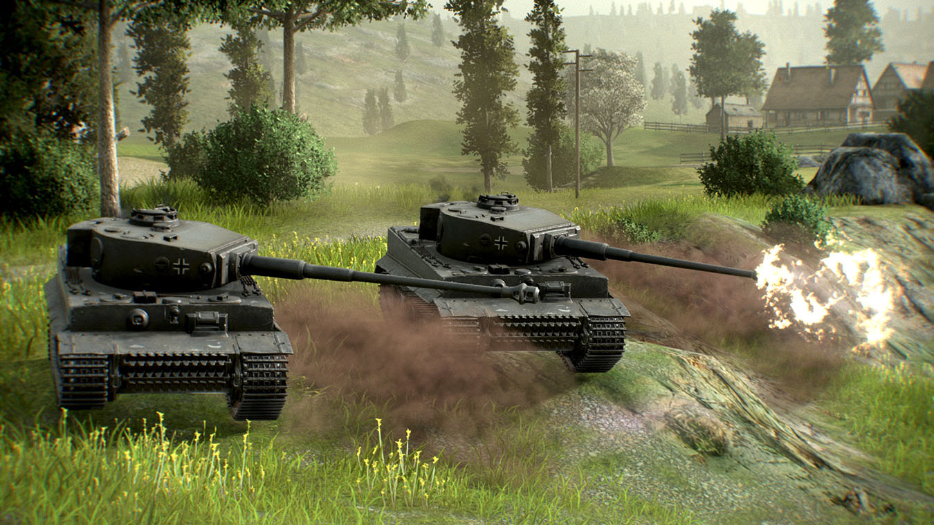 German Tiger Tanks, der skyder ned ad en bakkeside