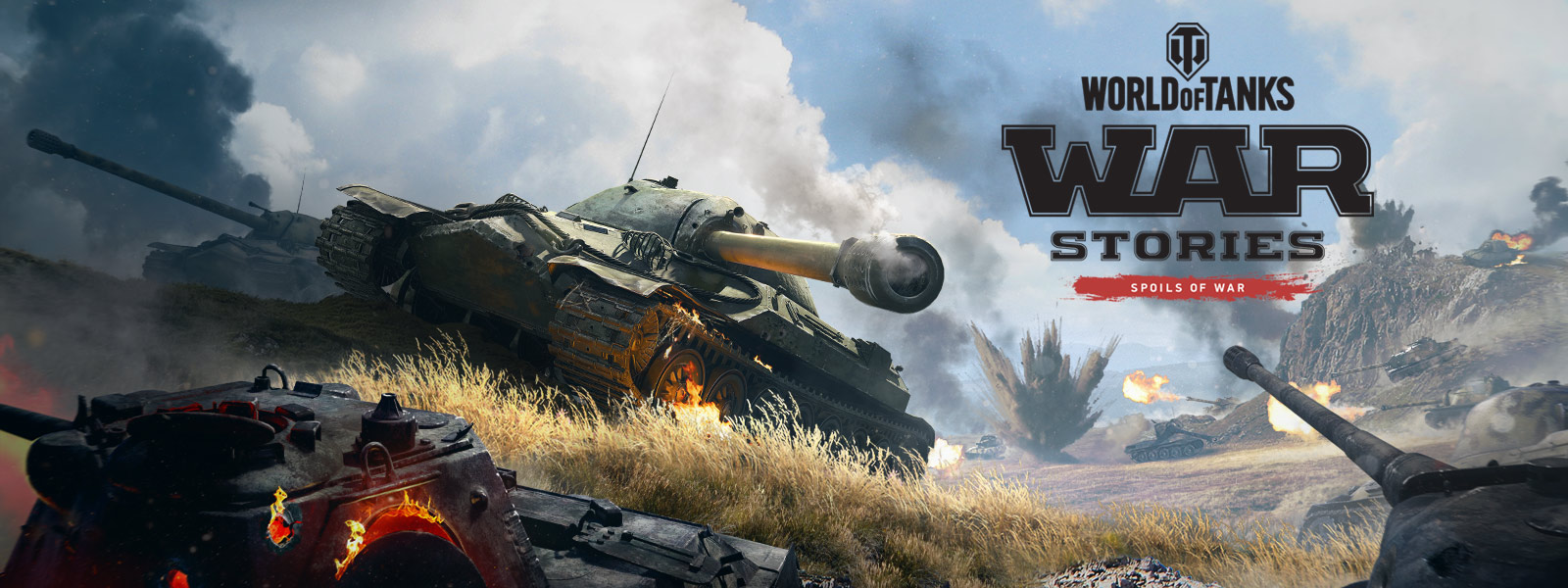 World of Tanks War Stories Spoils of War, two tanks go up a hill with multiple tanks firing in the background