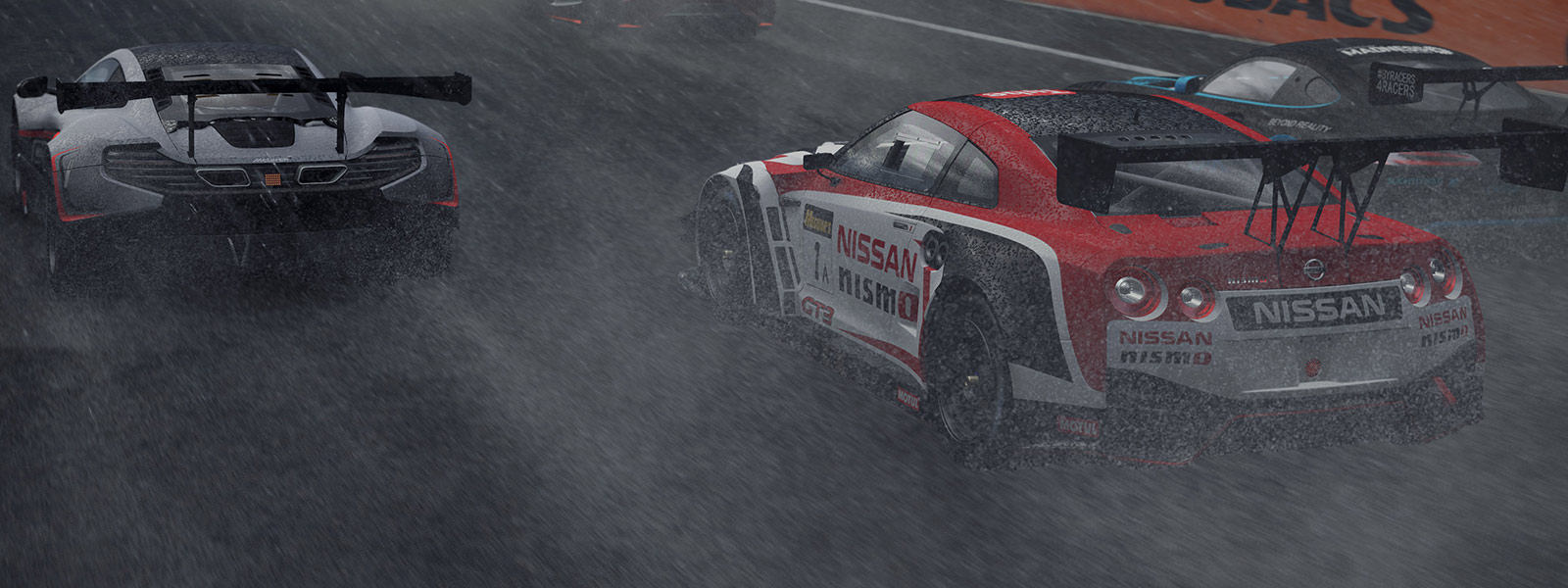 Nissan GTR racing in the rain