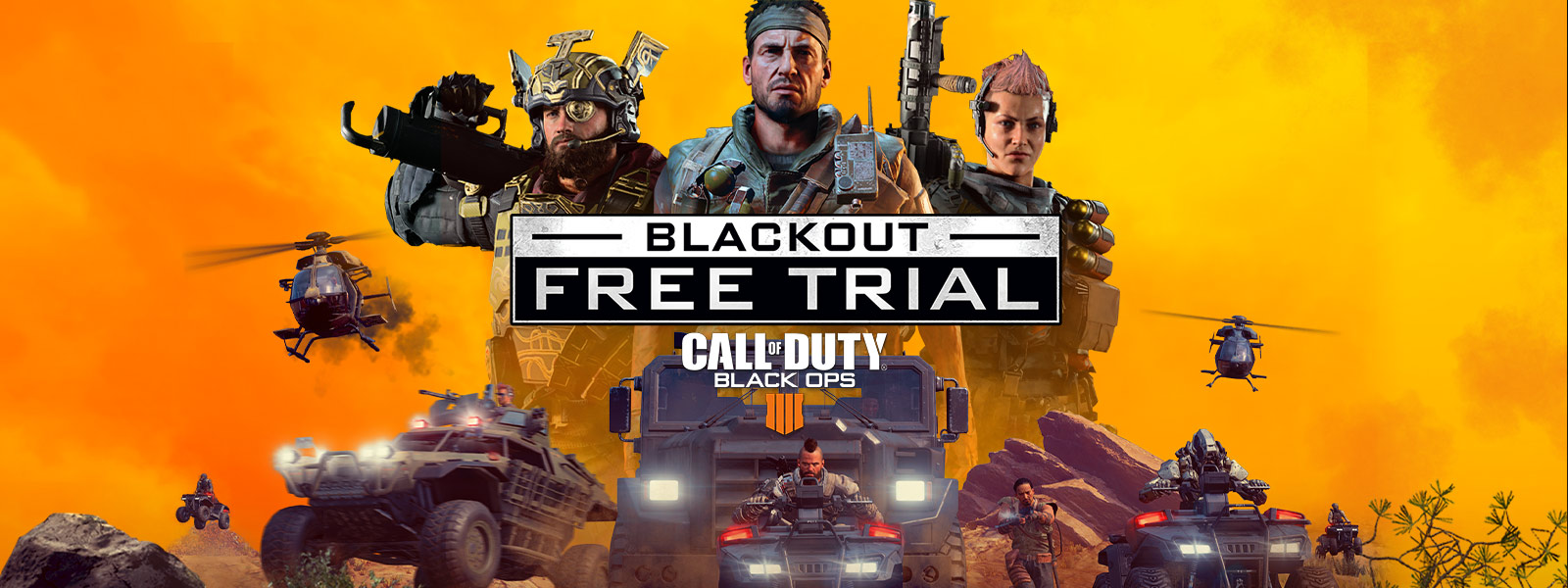 Blackout Free Trial for Call of Duty Black Ops 4, 3 specialist characters stand over multiple vehicles facing the screen