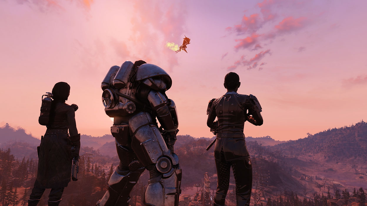 Three characters watch a Scorchbeast fly by