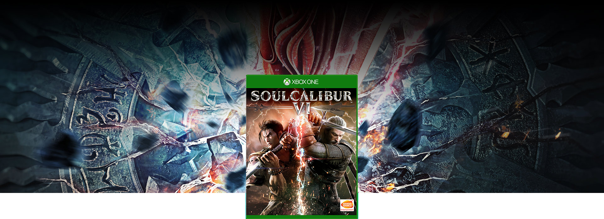 SOULCALIBUR VI boxshot with Soul Edge crashing into the ground