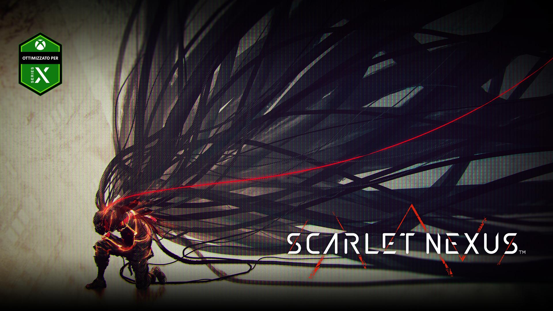 Scarlet Nexus, ottimizzato per Xbox Series X, un uomo si inginocchia con grandi strisce simili a capelli che fluiscono da lui