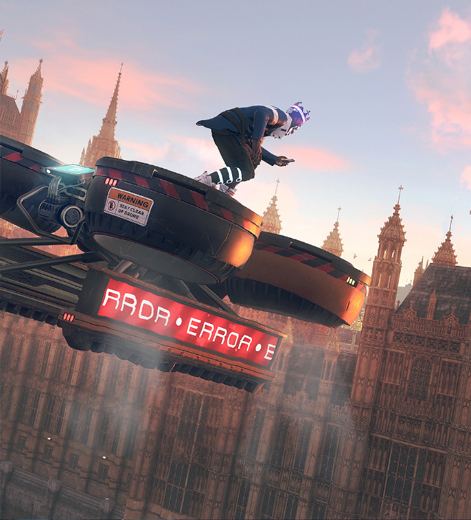 Personnage de Watch Dogs chevauchant un drone