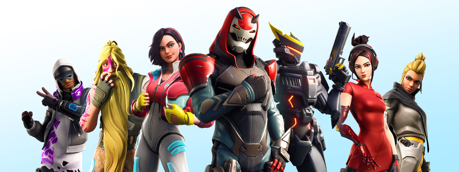 Various Fortnite characters posed in a V-formation