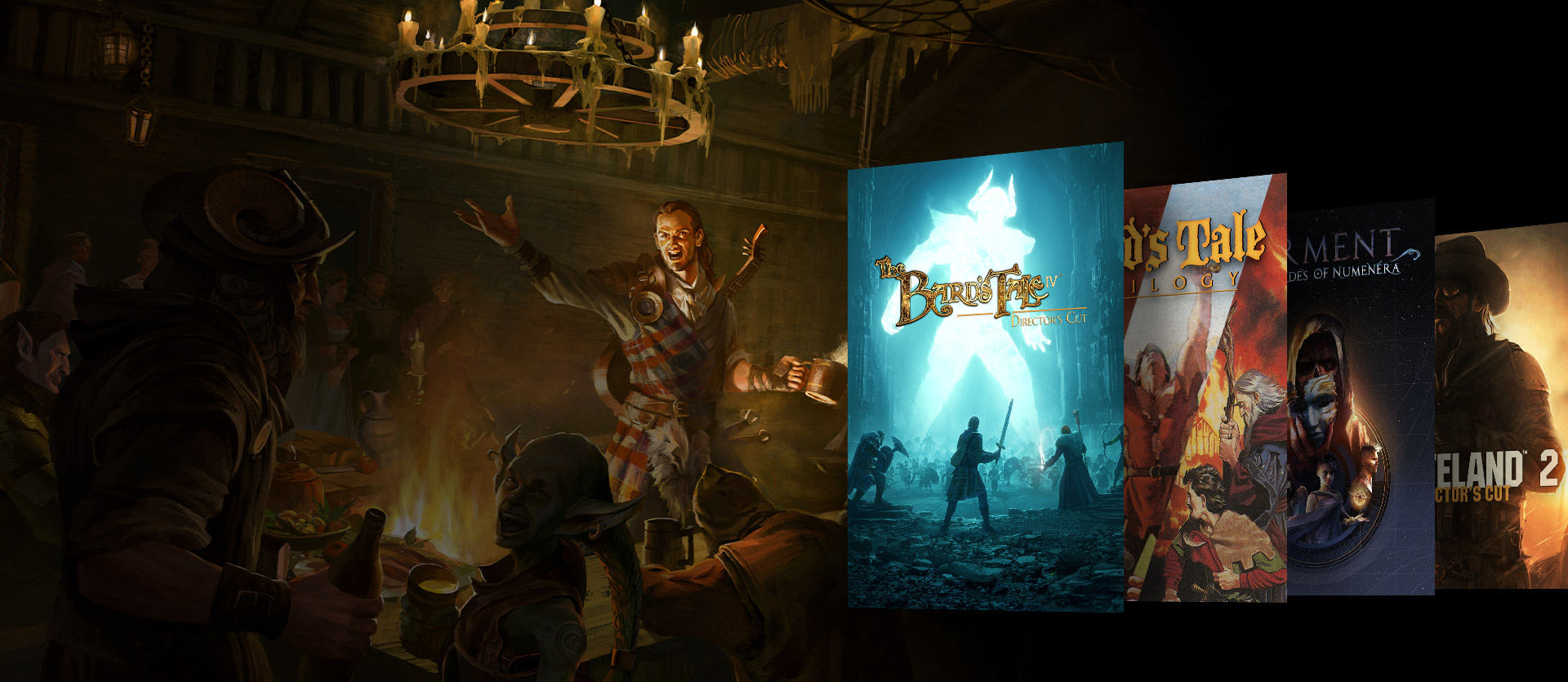 Boxshots of The Bard's Tale IV, Bard's Tale Trilogy, Torment: Tales of Numenara and Wasteland 2. A background of characters around a table with drinks