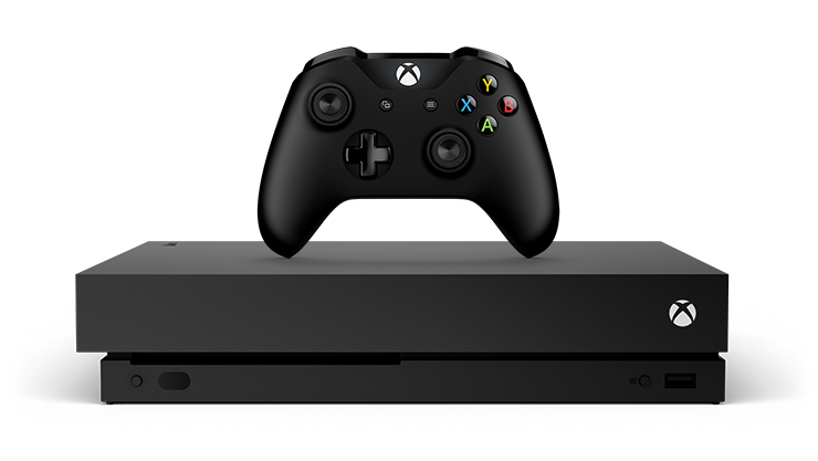 Front view of Xbox One X console and controller
