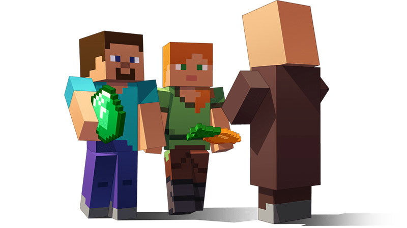 3 Minecraft players with a shovel and carrot