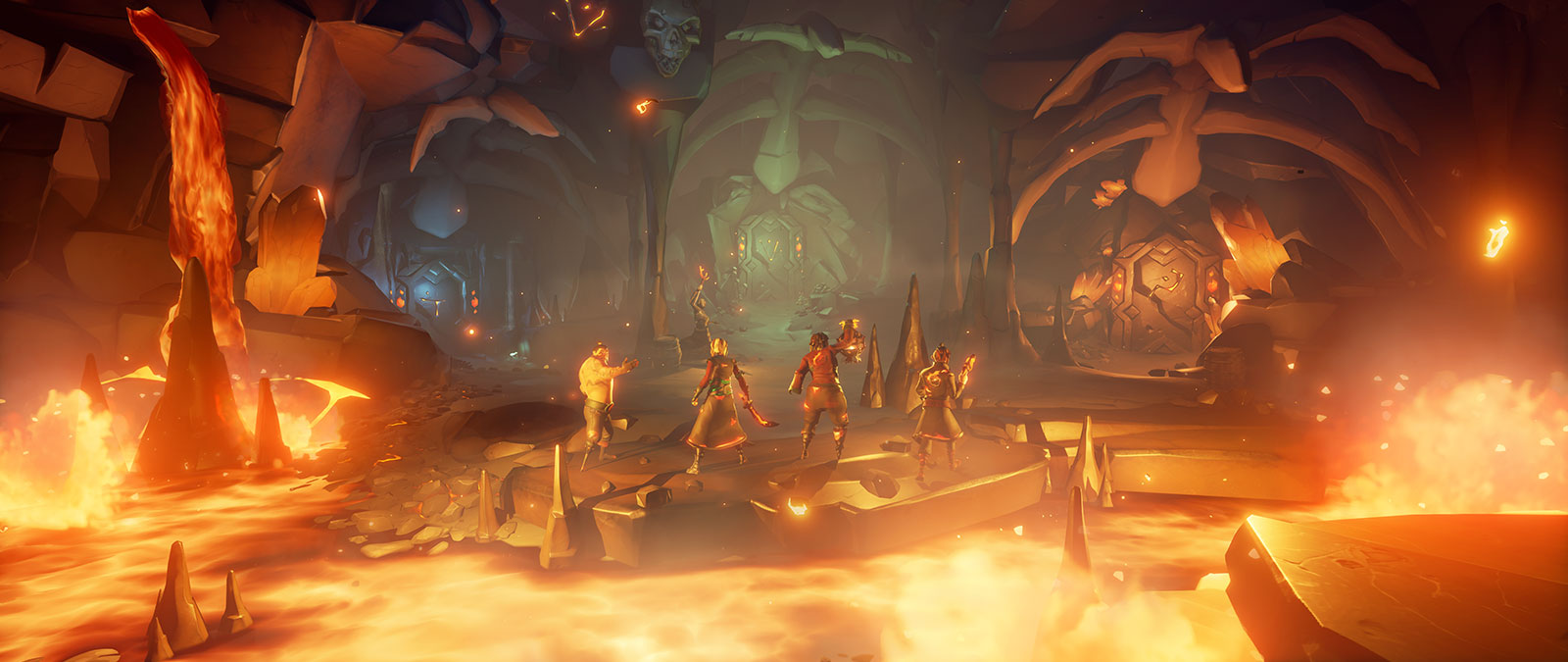 Vier personages uit Sea of Thieves in een grot met lava