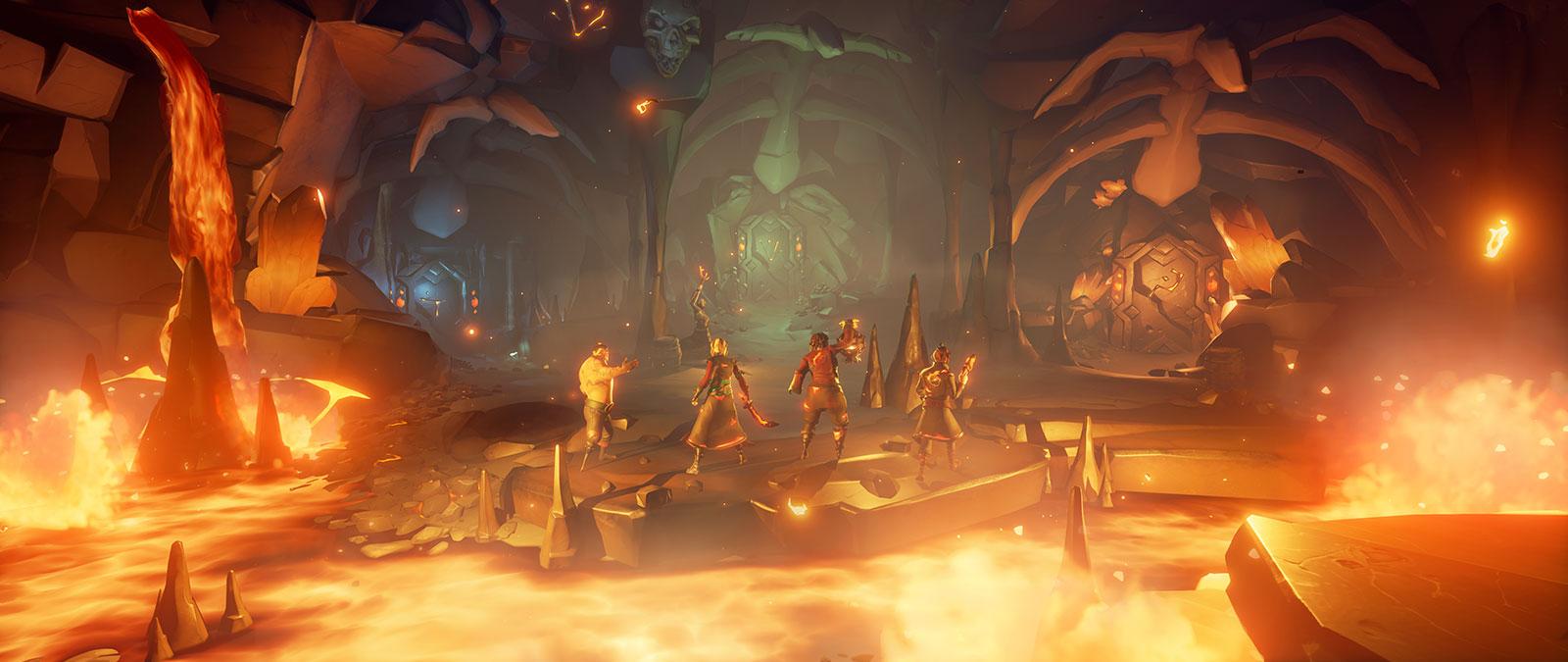 Cuatro personajes de Sea of Thieves en una cueva con lava
