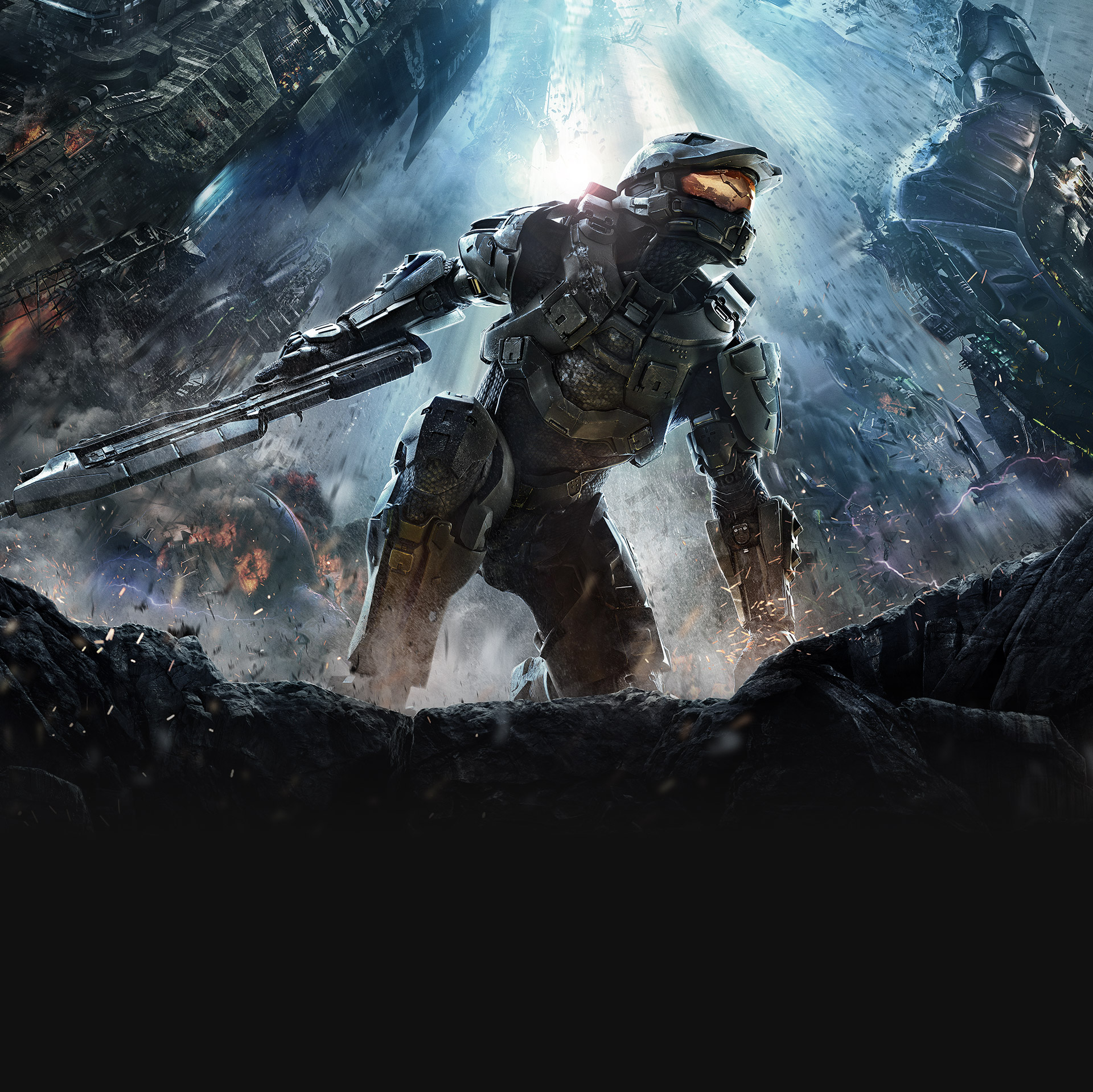 Halo 4, Master Chief kneels with an assault rifle in one hand surrounded by forerunner structures