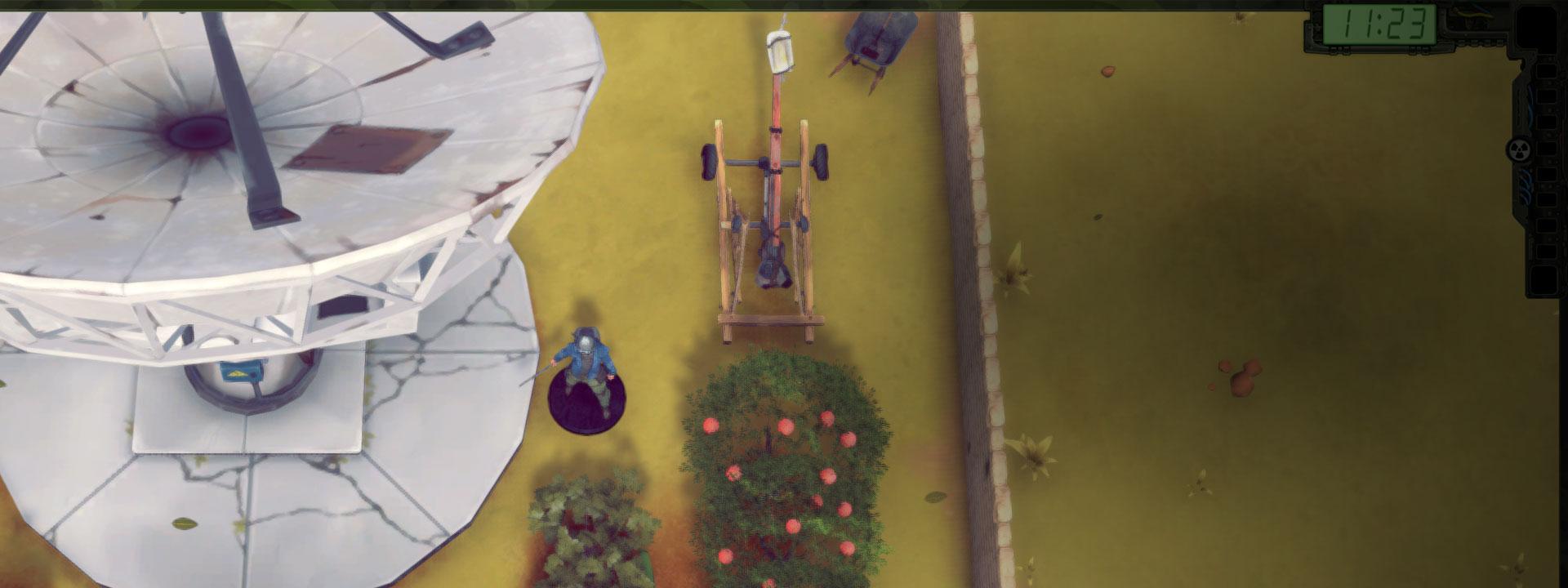 Spielerfigur in einem Garten neben einer Satellitenschüssel