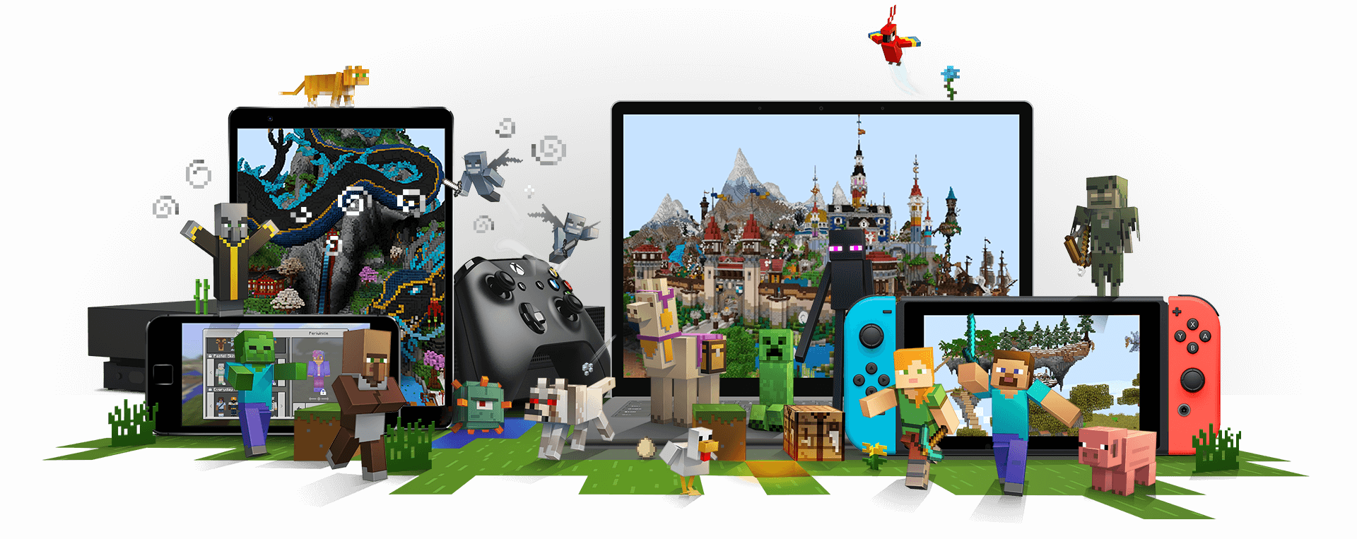 Minecraft characters surrounding devices where Minecraft is playable, including an Xbox, mobile phone, laptop PC and Nintendo Switch.