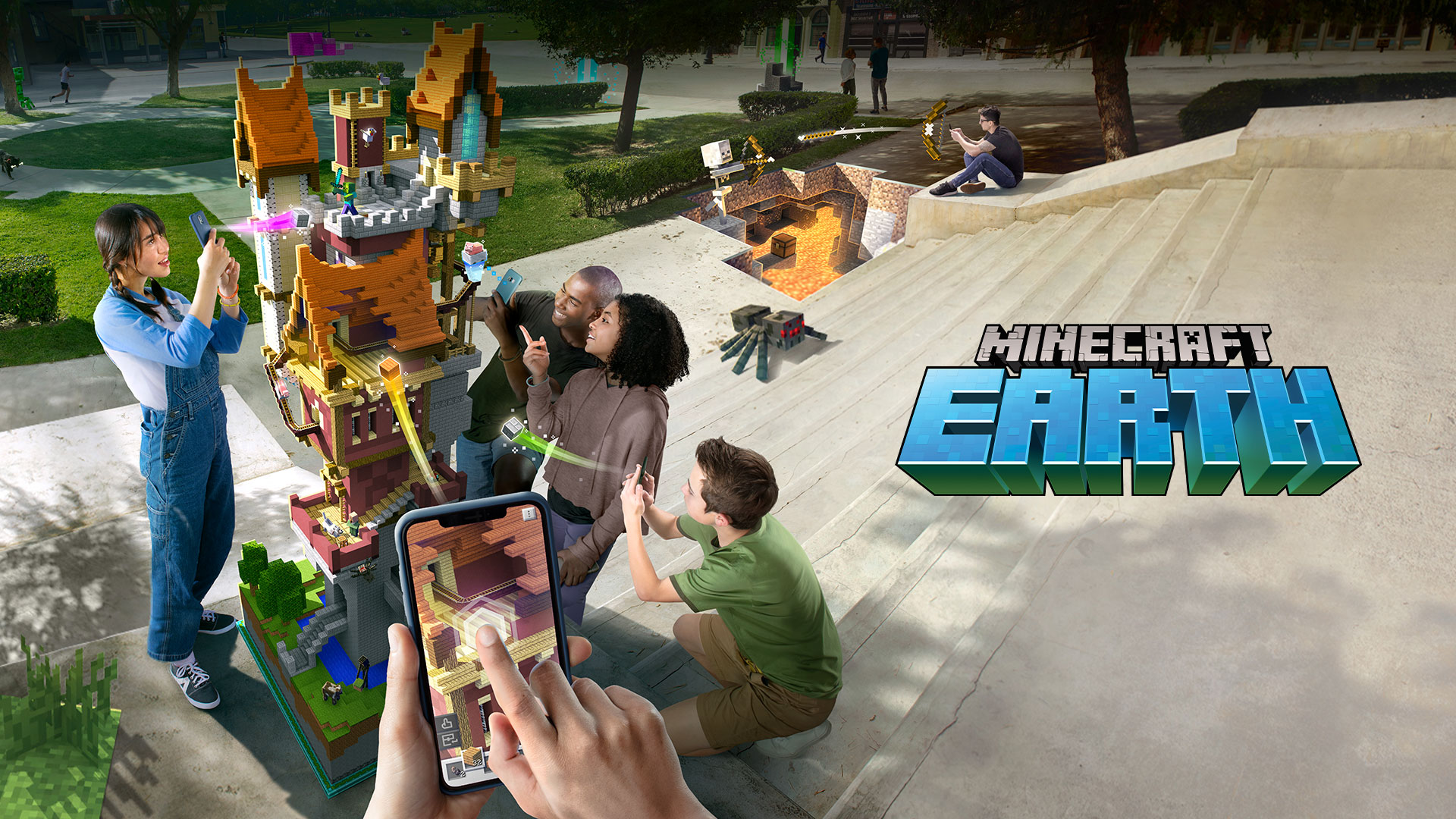Minecraft Earth, A group of people on the steps at a park playing Minecraft Earth on their mobile devices