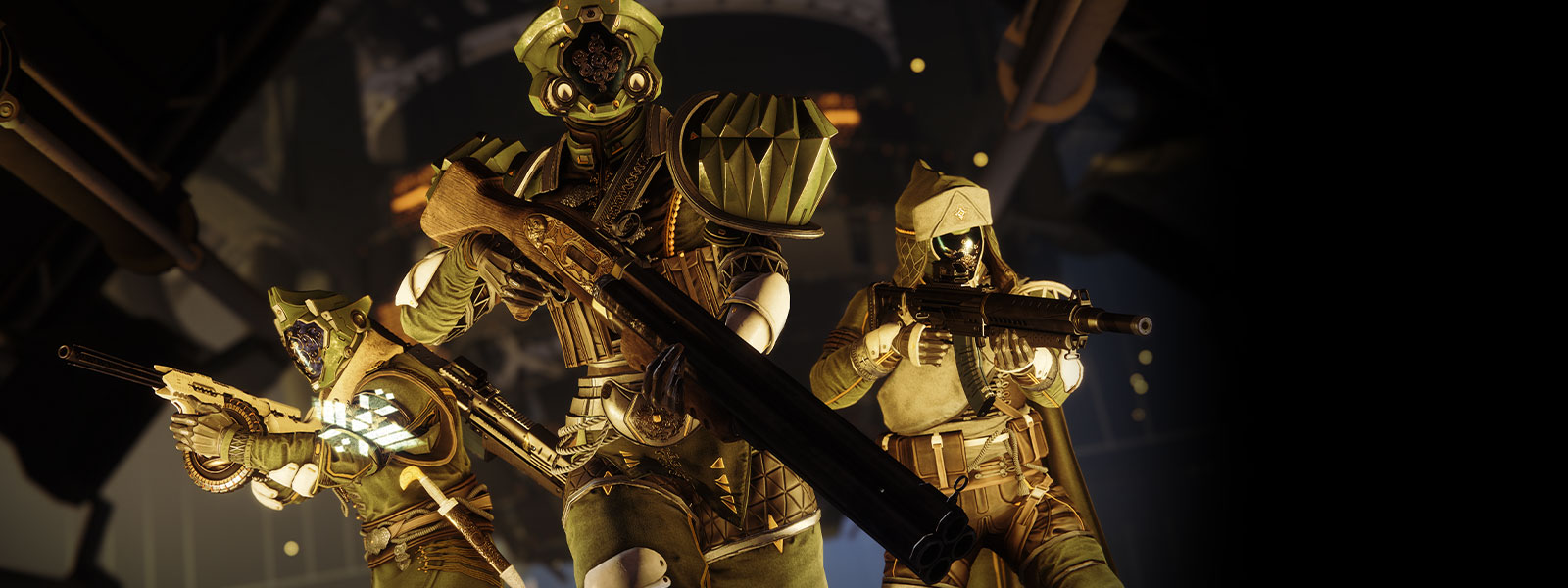 Golden-armored players walk with fancy guns.