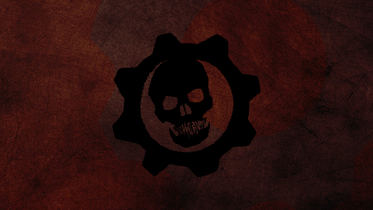 logotipo do gears of war com crânio no centro