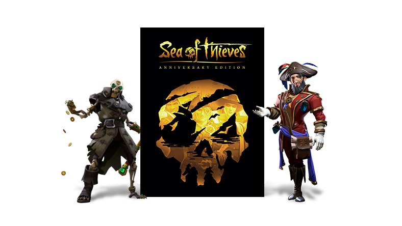 Two characters from Sea of Thieves along side the Anniversay Edition cover art