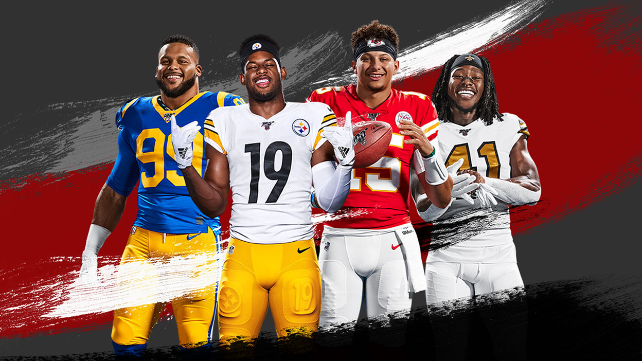 Four NFL players from different teams posing with red, white, grey and black paint strokes surrounding them