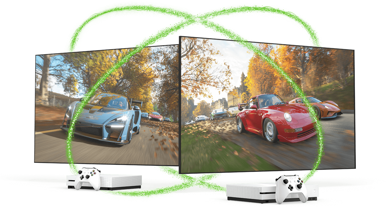 Two television screens displaying Forza Horizon 4, in front of two Xbox One S consoles and controllers, encircled by two intersecting neon-green beams of light.