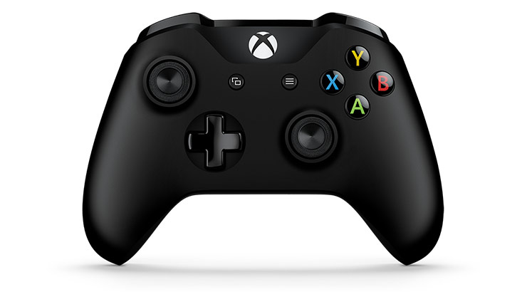 Front view of an Xbox One Black Wireless Controller