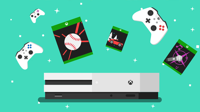 An illustration of an Xbox One S console is shown, with Xbox Wireless Controllers and games floating overhead.